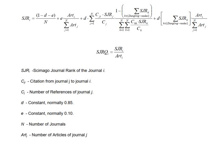 Scimago journal rank indicator - Screenshot from Scimago
