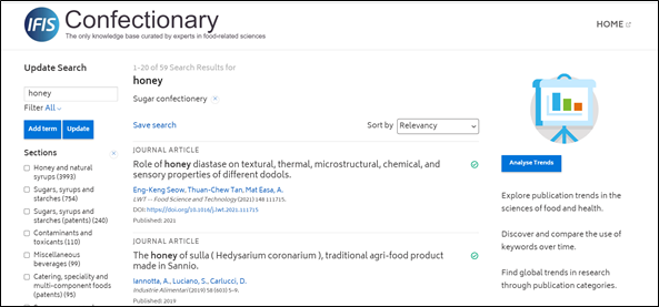 IFIS Confectionary - screenshot of search for honey filtered by Sugar confectionery