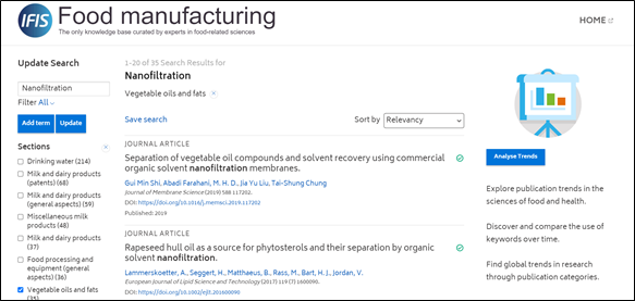 IFIS Food manufacturing - screenshot of search for Nanofiltration filtered by vegetable oils and fats