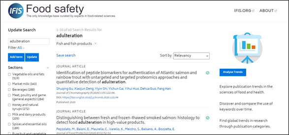 IFIS Safety - screenshot of search for adulteration filtered by fish and fish products
