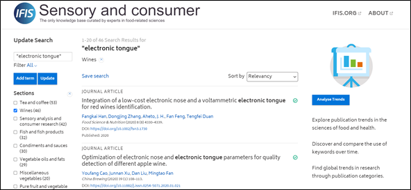 IFIS Sensory - screenshot of search for electronic tongue filtered by wine