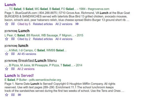 Lunch menus on Google Scholar | IFIS Publishing